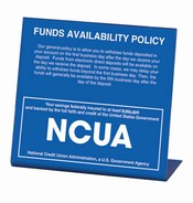 Countertop Compliance NCUA Signs