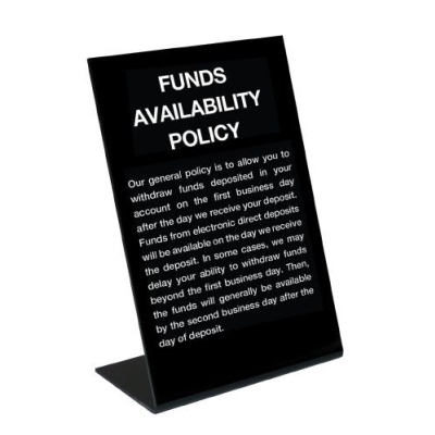 Funds Availability Sign - Black/Electronic Deposits Copy (2nd Business Day)