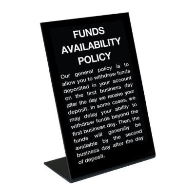 Funds Availability Sign - Black/Standard Copy (2nd Business Day)