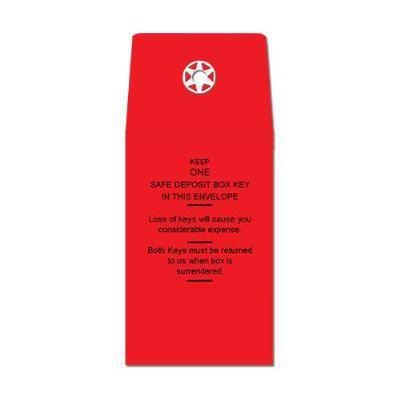 "2"" x 3""  Deposit Box Key Envelope - Standard Imprint/Red Only"