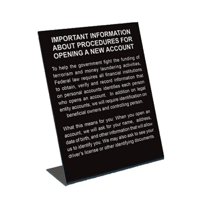 Patriot Act Desktop Sign - 2018 Beneficial Owners Version