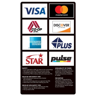 ATM Card Acceptance Sign w/ Informatonal Sign