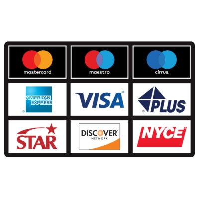ATM Card Acceptance Sign, 9 Sign (3 rows of 3)