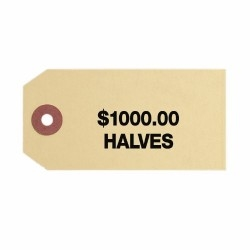 Coin Bag Tag - Halves/$1000/Sand