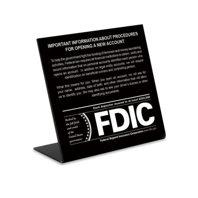 Patriot Act Sign with FDIC Logo - 2018 Beneficial Owners Version