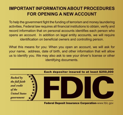 Patriot Act Wall Sign with FDIC Logo - 2018 Beneficial Owners Version