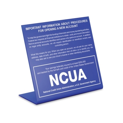 Patriot Act Sign with NCUA Logo - 2018 Beneficial Owners Version