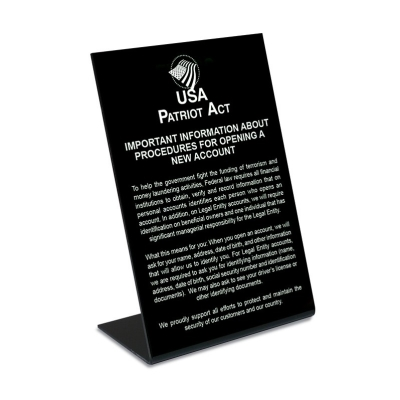 Patriot Act 2018 - Personal Business Account Countertop Sign
