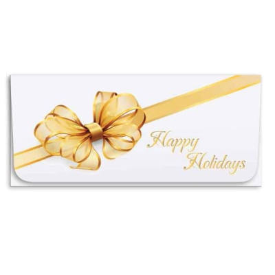 """""""Happy Holidays"""" Currency Envelope - Gold Ribbon"""