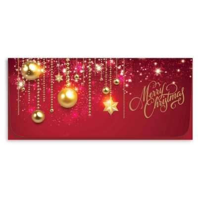 """""""Merry Christmas"""" Currency Envelope - Red w/ Gold Decor"""