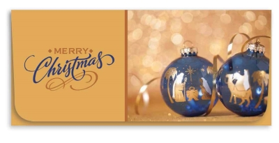 """""""Merry Christmas"""" Currency Envelope - Copper/Blue Ornament"""