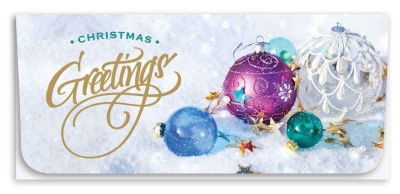 """Christmas Greetings"" Currency Envelope - Ornaments"