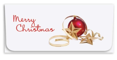 """Merry Christmas"" Currency Envelope - Red Ornament"