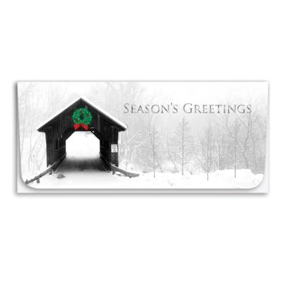 """""""Season's Greetings"""" Currency Envelope - Covered Bridge"""