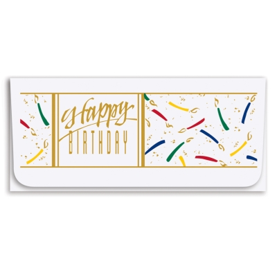 """Happy Birthday"" Currency Envelope -    Gold/Four-Color Litho"