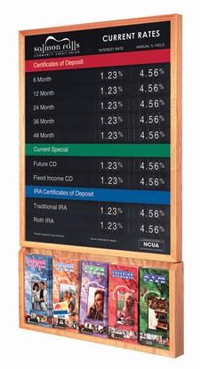 "Rate Display w/ Hardwood Frame & Brochure Holder - 22""W x 28""H"