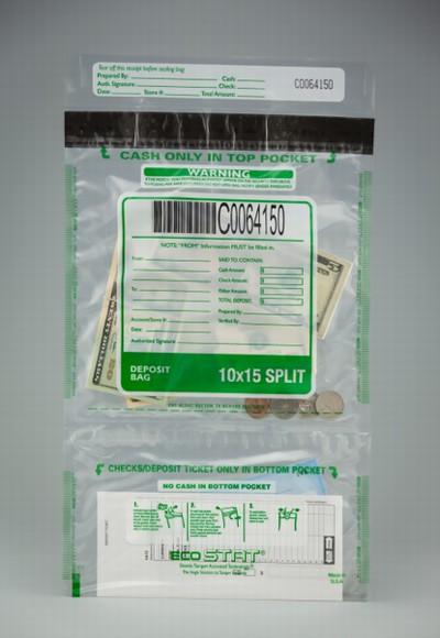"11"" x 15"" Eco Stat Deposit Vertical Split Bag"