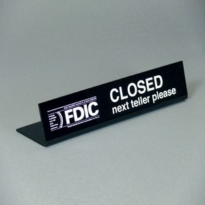Easel Style FDIC Teller Closed Sign - Black