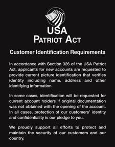 Patriot Act Sign w/ Flag (Customer Identification)