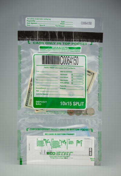 "11"" x 15"" Eco Stat Deposit Vertical Split Bag"