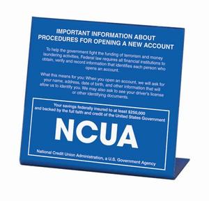 Patriot Act Sign w/ NCUA Logo - SPANISH