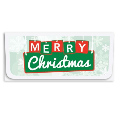 """""""Merry Christmas"""" Currency Envelope - Grenn & Red Sign"""