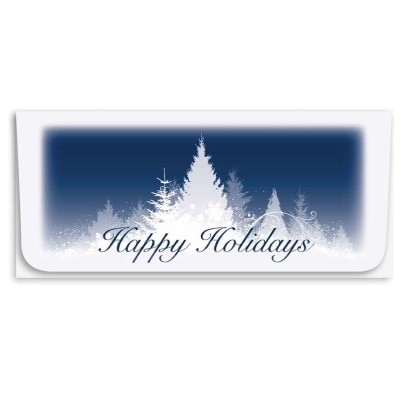 """Happy Holidays"" Currency Envelope - Blue w/White Trees"