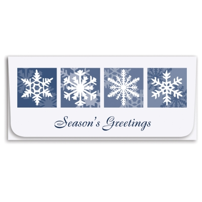 """""""Season Greetings"""" Currency Envelope-Blue/Snowflake"""