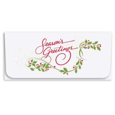 """""""Seasons Greetings"""" Currency Envelope - Holly"""