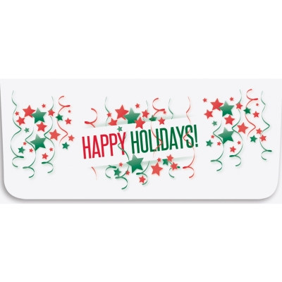 """Happy Holidays"" Currency Envelope - Green & Red Stars"