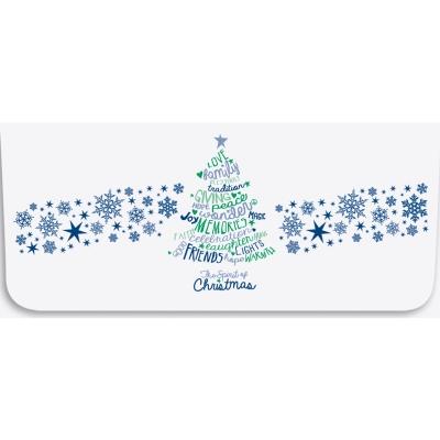 """Spirit of Christmas"" Currency Envelope - Blue & Green Word Tree"