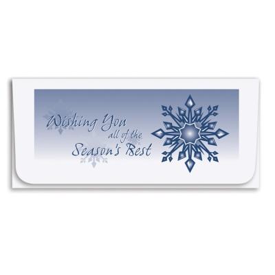 """""""Season's Best"""" Currency Envelope-Blue/Snowflake"""
