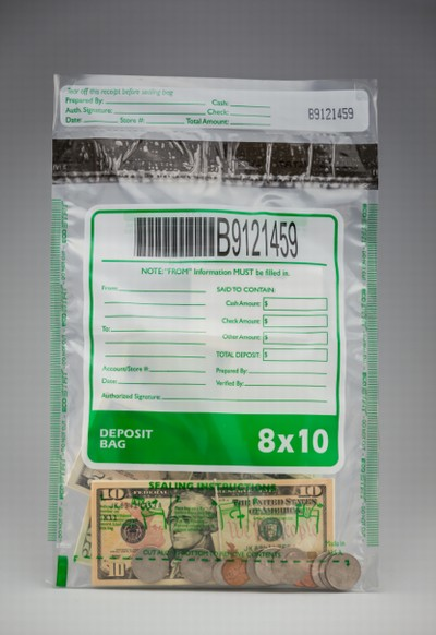 "8"" x 10.5""  ECO STAT Deposit Bag - Clear"