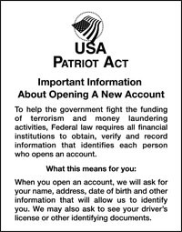 Patriot Act Sign w/ Flag (Important Information)