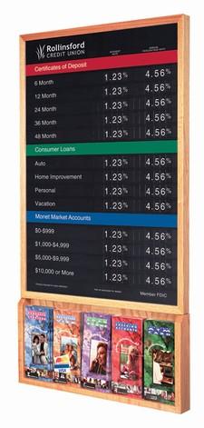 "Rate Display w/ Hardwood Frame & Brochure Holder - 22""W x 36""H"