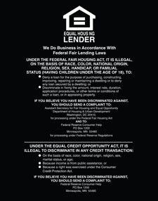 Equal Housing Lender, Federal Reserve