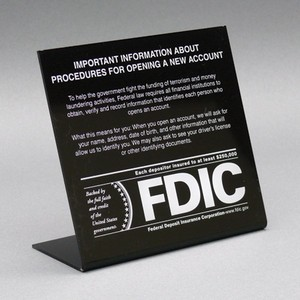 Patriot Act Sign with FDIC Logo