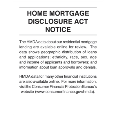 2018 Home Mortgage Disclosure Sign