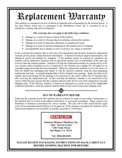 S-16XX Three Year Extension Service Plan