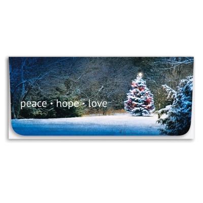 """Peace-Hope-Love"" Currency Envelope - Christmas Tree"