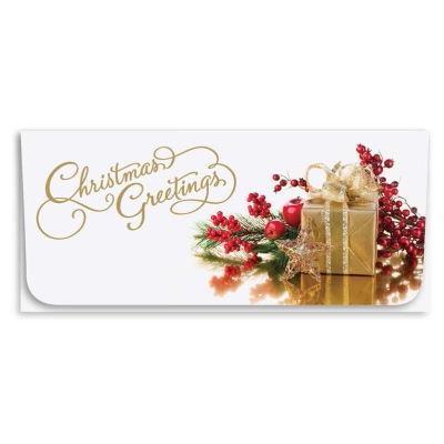 """""""Christmas Greetings"""" Currency Envelope - Gold Gift"""