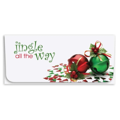 """""""Jingle All the Way"""" Currency Envelope - Green/Red Bells"""