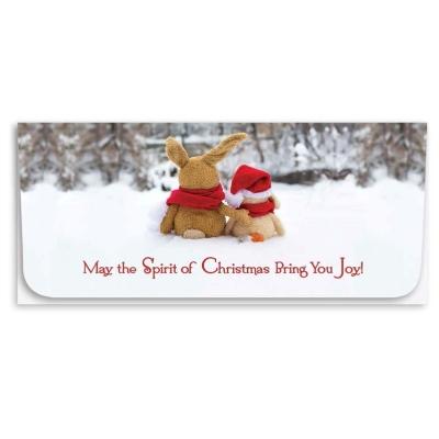 """Spirit of Christmas"" Currency Envelope - Rabbit w/Santa Hat"