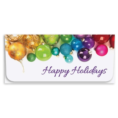 """Happy Holidays"" Currency Envelope - Multi Color Ornaments"