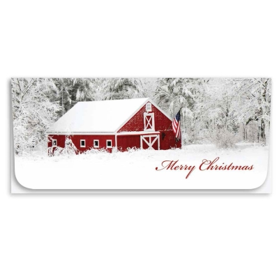 """Merry Christmas"" Currency Envelope - Red Barn"
