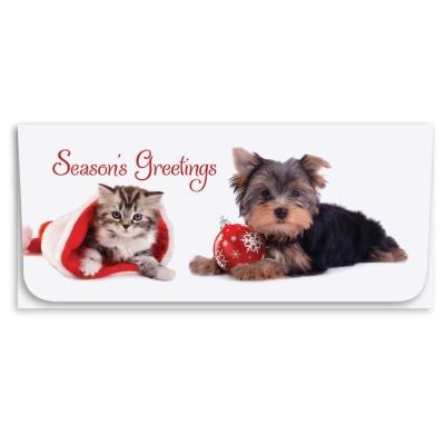 """""""Season's Greetings"""" Currency Envelope - Cat & Dog"""