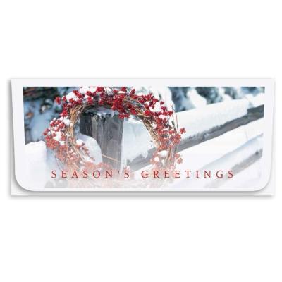 """""""Seasons Greetings"""" Currency Envelope - Red Berry Wreath"""