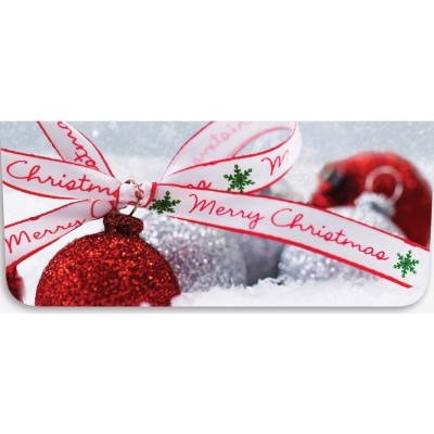 """""""Merry Christmas"""" Currency Envelope - Red Ornament w/ Ribbon"""