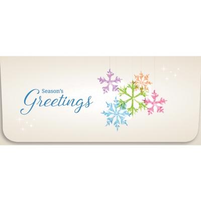 """""""Seasons Greetings"""" Currency Envelope - Multi Colored Snowflakes"""