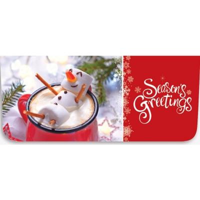 """Seasons Greetings"" Currency Envelope - Marshmallow Snowman / Hot Chocolate"